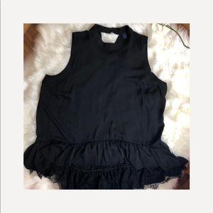 Kaari Plus Size Black Lace Sleeveless Blouse